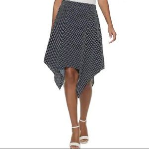 NWT! Elle pull on handkerchief skirt in navy dots